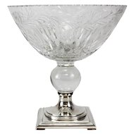 Hawkes Footed Centerpiece Bowl, Sterling Silver, Cut Crystal