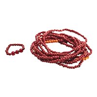 8 Italian Red Coral Stretch Beaded Bracelets with Ring