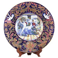 "Italian Majolica Pottery 18"" Platter Hand Painted Centaur Battle 19th Century"