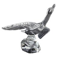 Baccarat Art Glass Canard Volant, Duck in flight, poised on crag