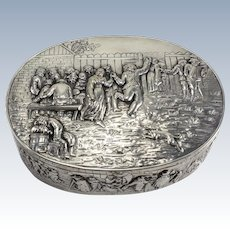 French Sterling Silver Box, c1890 repousse genre scene with figures drinking