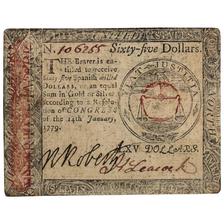 65 Sixty Five Spanish Milled Dollars January 14 1779 Continental Currency