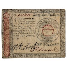 $65 SIXTY FIVE Spanish Milled Dollars January 14 1779 Continental Currency