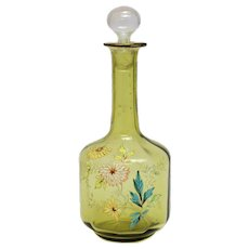 Mont Joye French Art Glass Decanter w/ Raised Hand Painted Enamel Flowers, c1920