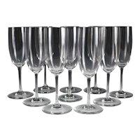 """10pc Baccarat Crystal Champagne Flutes, Haut Brion Pattern 7 5/8"""". Plain bowl"""