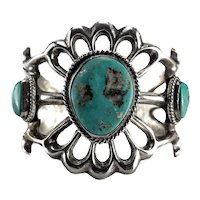 Old Pawn Navajo Sterling Silver Turquoise Nugget Cuff Bracelet Openwork, c1940