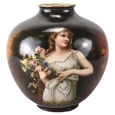 Royal Bonn Hand Painted Porcelain Ginger Jar form Vase Young woman c 1920