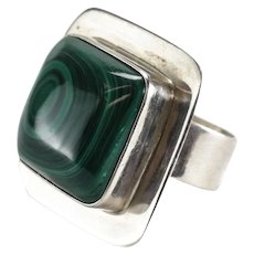 Large Vintage Taxco Mexico Malachite Sterling Silver Modernist Statement Ring