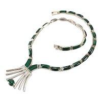 Vtg Sterling Silver Malachite Statement Modernist Necklace Choker Pendant Mexico