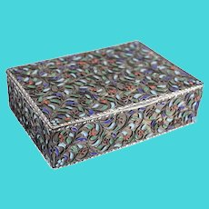 Greek Sterling Silver Cloisonné Hinged Box c1920 Filigree Wire Floral Ivy Design
