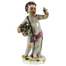 Meissen Bauch Hand Painted Porcelain Figurine, Putti w/ Flowers, 19th century