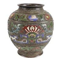 Antique Chinese Bronze & Champleve Enamel Urn. 18th century