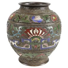 Antique Chinese Bronze & Champleve Enamel Urn. 18th century