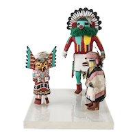 Three mounted Vintage Hopi KACHINA Dolls, Talavai Morning Singer Owl, animal
