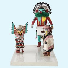 Three mounted Vintage Hopi KACHINA Dolls, Talavai Morning Singer Owl, animal