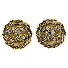 Chanel Yellow Gold Tone and Crystal Signature Double C Earrings, c1980. Clip on