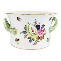 Herend Hand Painted Jardiniere Floral and Fruit Designs Braided Textured Handles