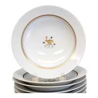 10pc Royal Copenhagen Rimmed Soup Bowls, Gold Animals, Art Deco c1938 RARE
