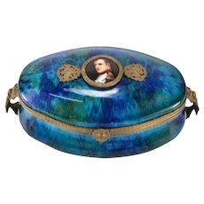 PM Sevres Style Porcelain Box with Miniature Hand painted Napoleon Portrait c1900