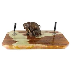 Continental Bronze Elephant & Marble Pen Desk Tray Mom & Baby Trunks Up, c1920