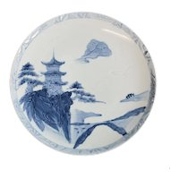Japanese Arita Ware Porcelain Charger / Platter Landscape Raised Details