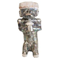 Stunning Mother of Pearl Mosaic Inlay Sculpture, Mayan figure, Mexico c1950
