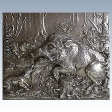 Fritz Diller Silverplate Repousse Boar and dogs silver wall plaque, wood framed