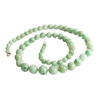 Graduated Jadeite Green Jade Beaded Necklace. Light and bright greens. 10k gold