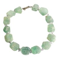 Chunky KALAN by Suzanne Kalan Raw Emerald amethyst necklace sterling silver