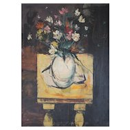 Charles Levier French 1920-2003 Oil Painting Floral arrangement on Yellow Table