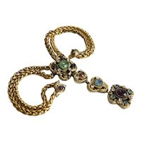Vintage Chanel Pearl Gripoix Necklace Purple Blue Amber Aquamarine Color