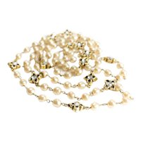 """Vintage Chanel Faux Pearl and Gripoix Diamond Necklace, 69"""" opera length"""