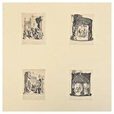 Jacques Callot French 1592-1635 La Petite Passion 4 Etchings