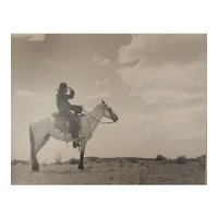 Muench, Josef (1904-1998) B/W Gelatin Silver Photograph, Untitled Man on Horse