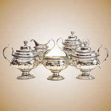 5pc Set William Thomson Coin Silver Large Footed Tea Coffee Service c 1810-1833