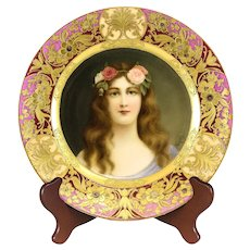 "Royal Vienna Style Hand painted Portrait Cabinet Plate ""Rose"" signed, circa 1890"