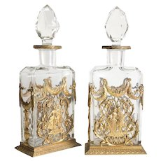 Pair of French Ormulu Gilt Bronze mounted Crystal Decanters, circa 1900