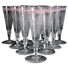 Set of 10 Venetian Latticino Art Glass Flared Intaglio Wine Goblets, 19th C