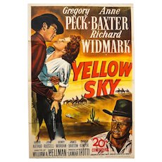 Genuine Theatrical Movie Poster 'Yellow Sky' (1948). Folded 1 Sheet.