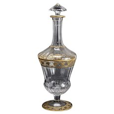 Saint St. Louis Callot Crystal Gold Gilt Footed Decanter