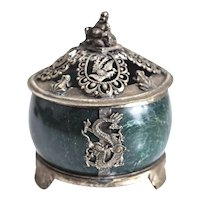 Antique Chinese Nephrite Jade Footed silver Mount Censer, buddha finial c1900