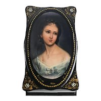 Russian Lacquerware Music box hand painted portrait of young woman signed c1960