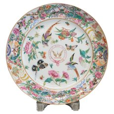 Chinese Export Porcelain Plate with raised hand painted enamel and gilt - Birds
