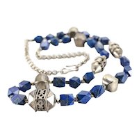 Middle Eastern Sterling Silver and Lapis Lazuli Gemstone Ethnic Necklace c1920