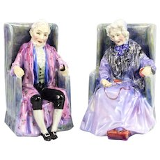 Pair of Royal Doulton Porcelain Figurines Darby & Joan. Hand Painted, c1940