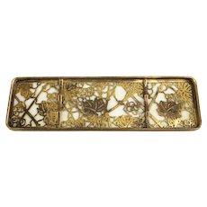 Tiffany Studios Bronze Gilt Bronze Pen Tray #1008 in Grapevine Pattern, c1900