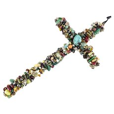 Vintage Lg Artisan Hand Crafted WALL Crucifix Entwined with Semi Precious Stones
