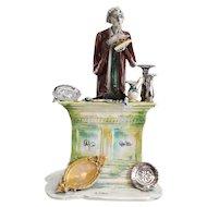 Gigi Duso Lo Scricciolo Italy Figural Statuette, Antiques Dealer, in clear case