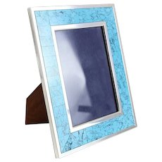 Kirk Stieff Sterling Silver, Turquoise gemstone, Wood Photo Frame 6 X 4
