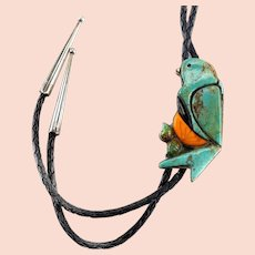 Small Bear Ponca Tribe Sterling Silver Turquoise Coral Onyx Mother of pearl BOLO